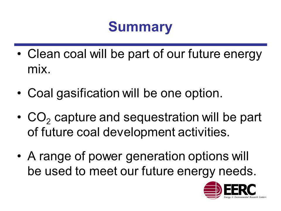 Summary Clean coal will be part of our future energy mix.