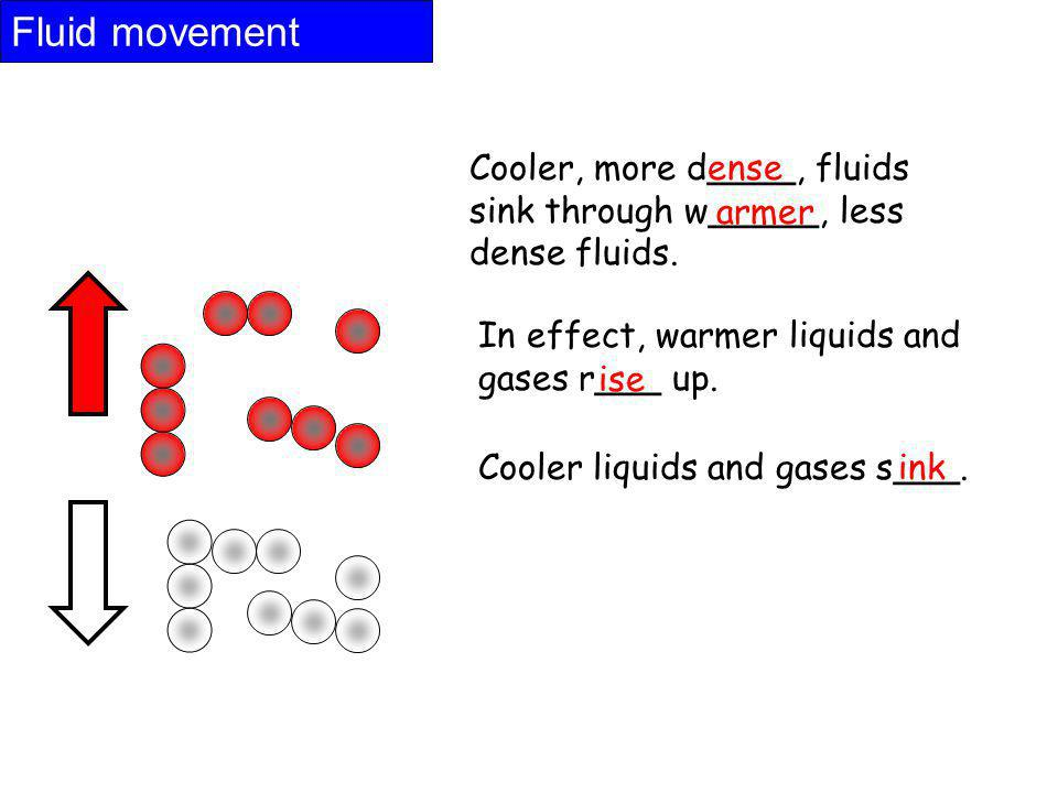 Fluid movement Cooler, more d____, fluids sink through w_____, less dense fluids. ense. armer. In effect, warmer liquids and gases r___ up.