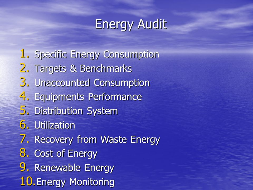 Energy Audit Specific Energy Consumption Targets & Benchmarks