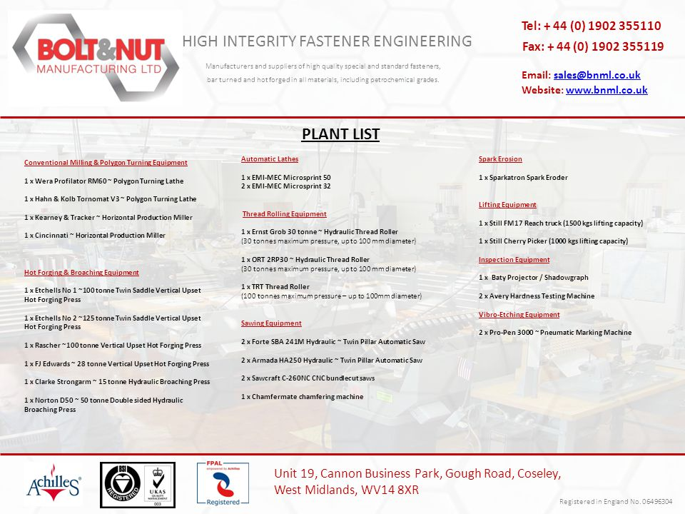 HIGH INTEGRITY FASTENER ENGINEERING