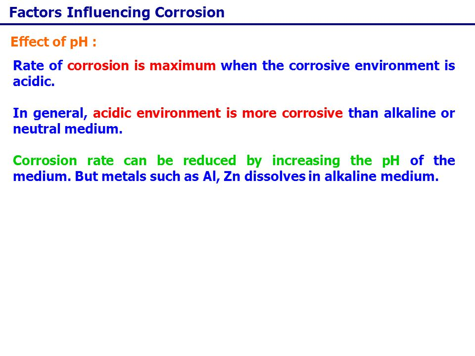 Factors Influencing Corrosion