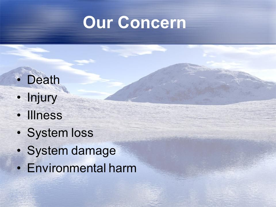 Our Concern Death Injury Illness System loss System damage