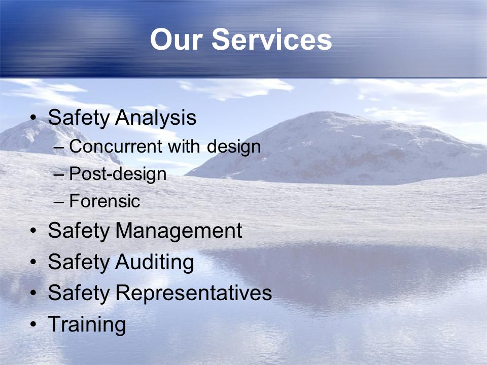 Our Services Safety Analysis Safety Management Safety Auditing