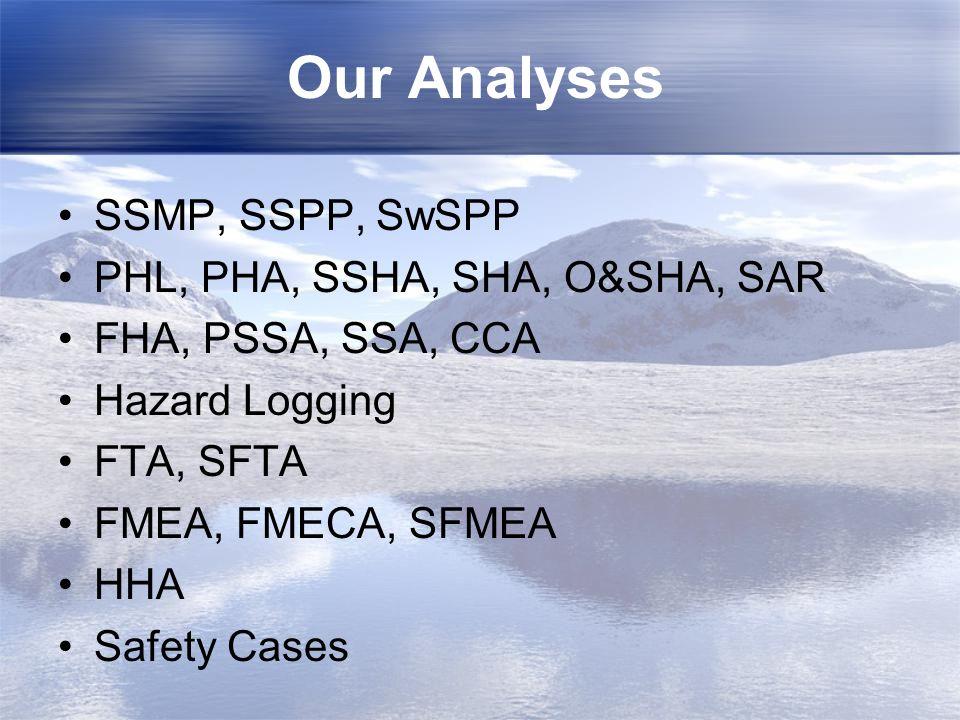 Our Analyses SSMP, SSPP, SwSPP PHL, PHA, SSHA, SHA, O&SHA, SAR