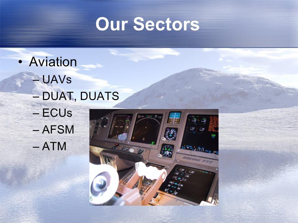 Our Sectors Aviation UAVs DUAT, DUATS ECUs AFSM ATM