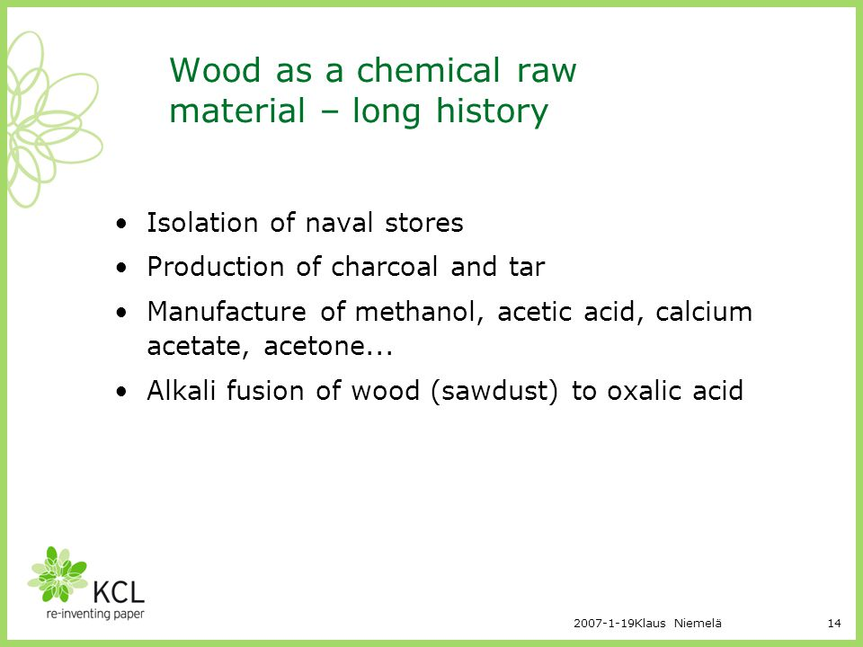 Wood as a chemical raw material – long history