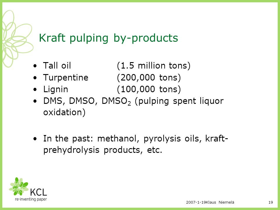 Kraft pulping by-products
