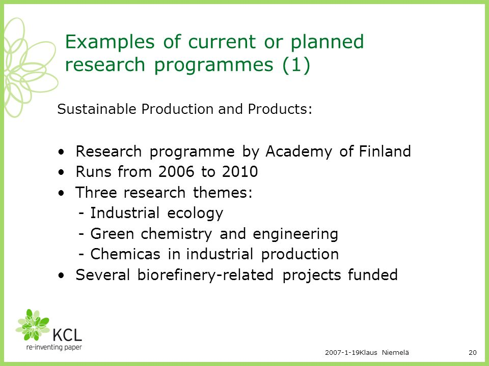 Examples of current or planned research programmes (1)
