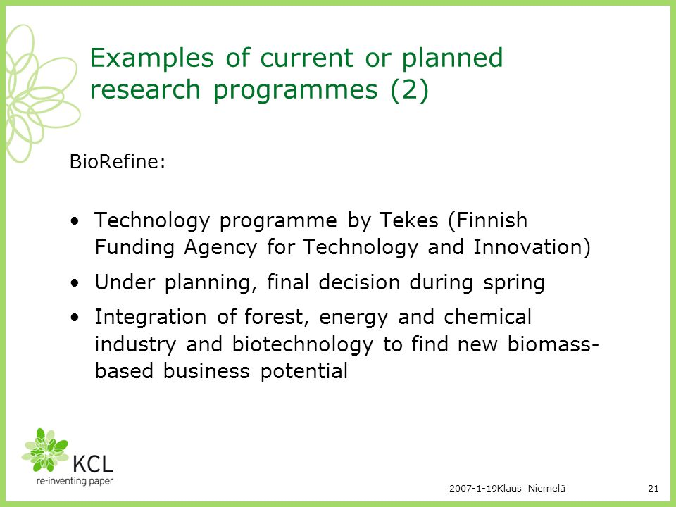 Examples of current or planned research programmes (2)