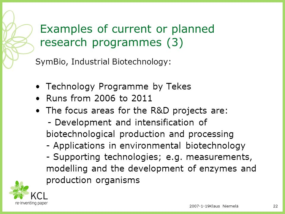 Examples of current or planned research programmes (3)