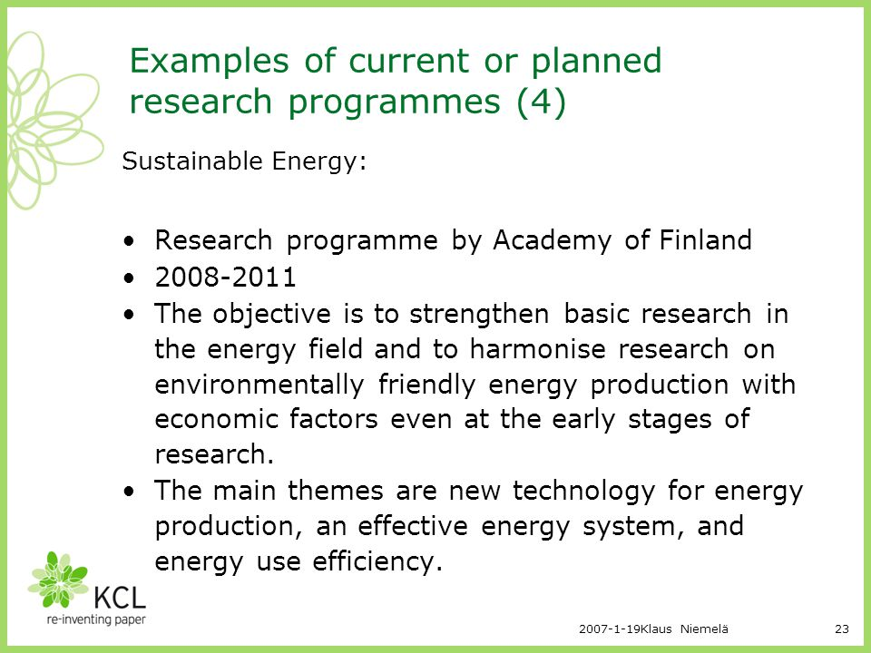 Examples of current or planned research programmes (4)