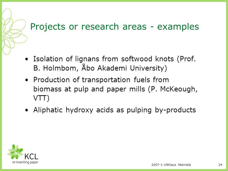 Projects or research areas - examples