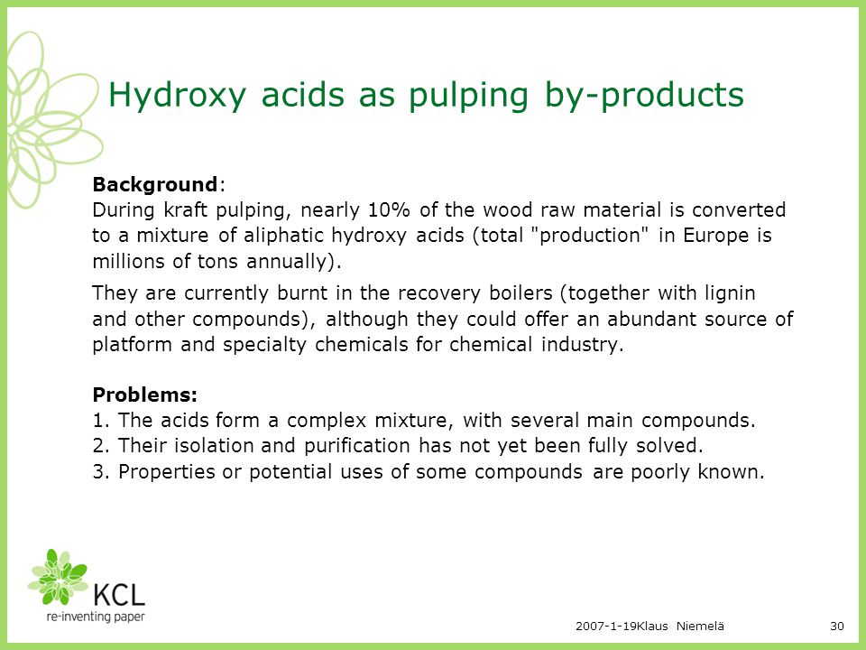 Hydroxy acids as pulping by-products