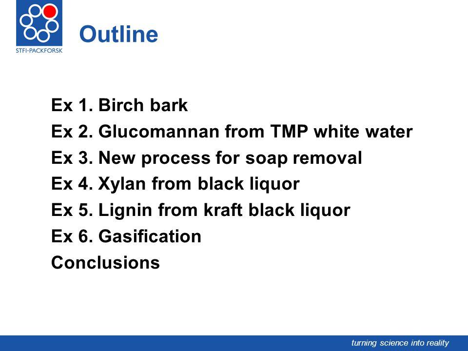 Outline Ex 1. Birch bark Ex 2. Glucomannan from TMP white water