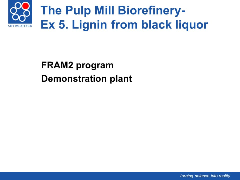 The Pulp Mill Biorefinery- Ex 5. Lignin from black liquor