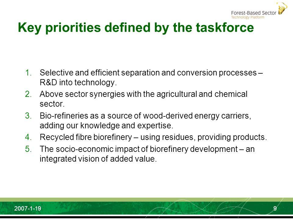 Key priorities defined by the taskforce