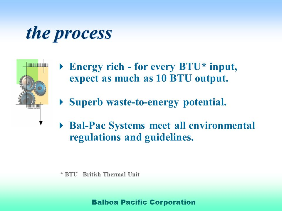 the process Energy rich - for every BTU* input,