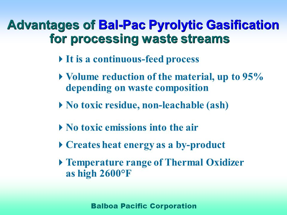 Advantages of Bal-Pac Pyrolytic Gasification