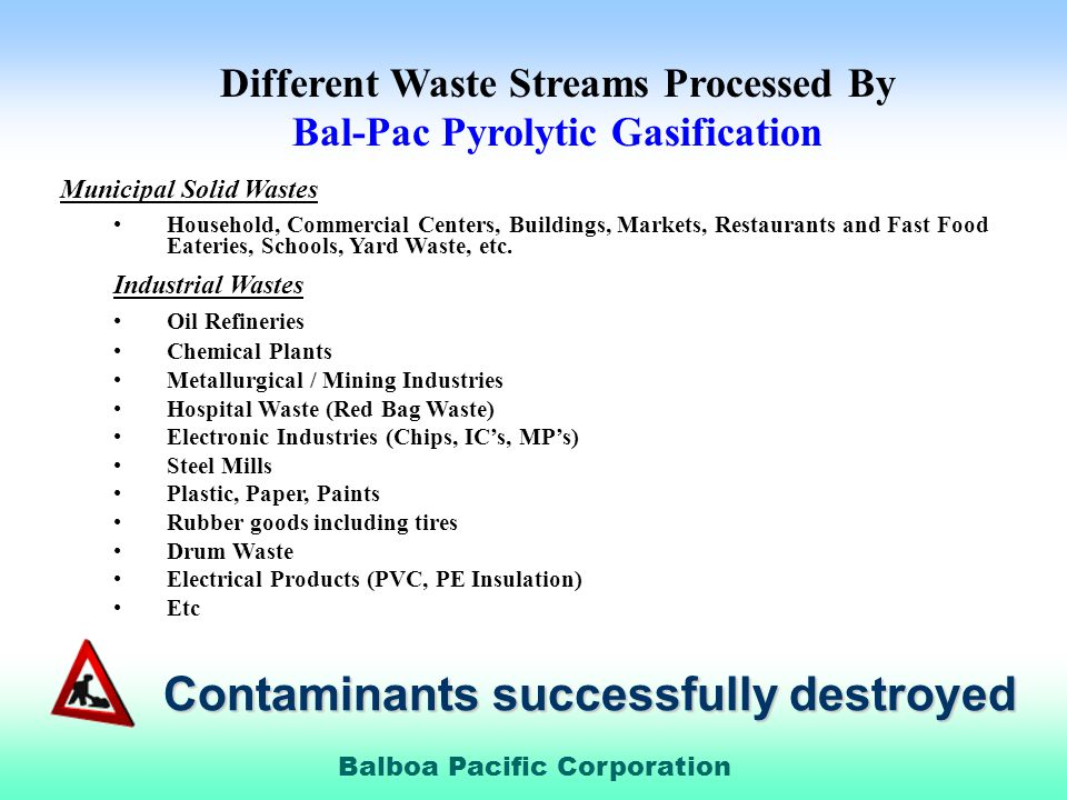 Different Waste Streams Processed By Bal-Pac Pyrolytic Gasification