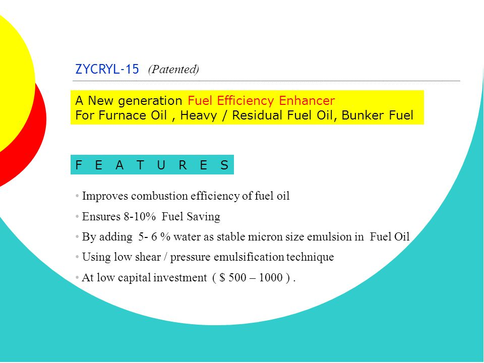 ZYCRYL-15 (Patented) A New generation Fuel Efficiency Enhancer