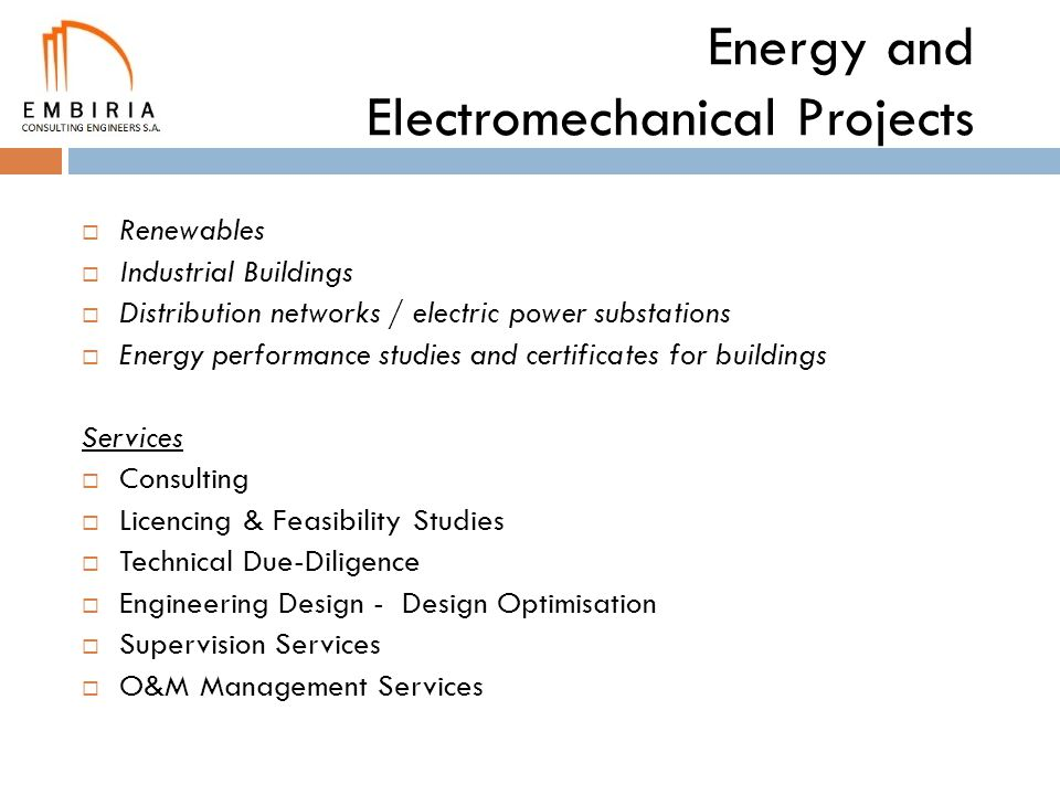 Energy and Electromechanical Projects