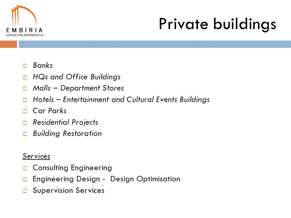 Private buildings Banks HQs and Office Buildings