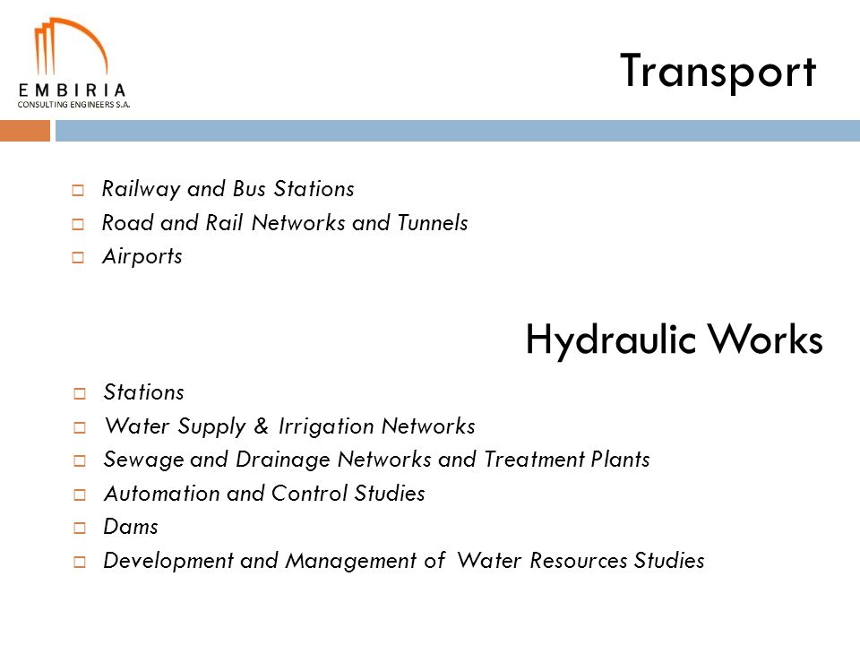 Transport Hydraulic Works Railway and Bus Stations
