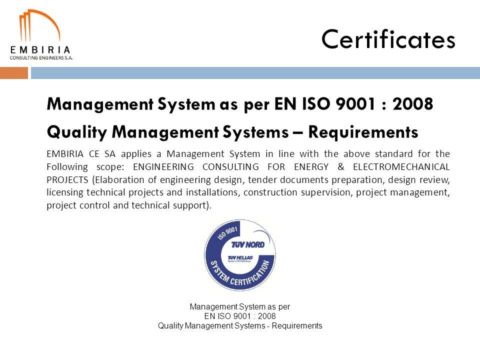 Certificates Management System as per EN ISO 9001 : 2008