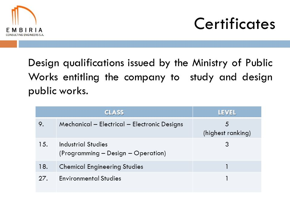 Certificates Design qualifications issued by the Ministry of Public Works entitling the company to study and design public works.