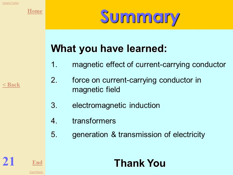 Summary 21 What you have learned: Thank You