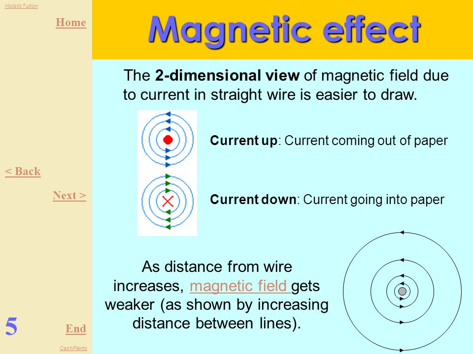 Magnetic effect The 2-dimensional view of magnetic field due to current in straight wire is easier to draw.