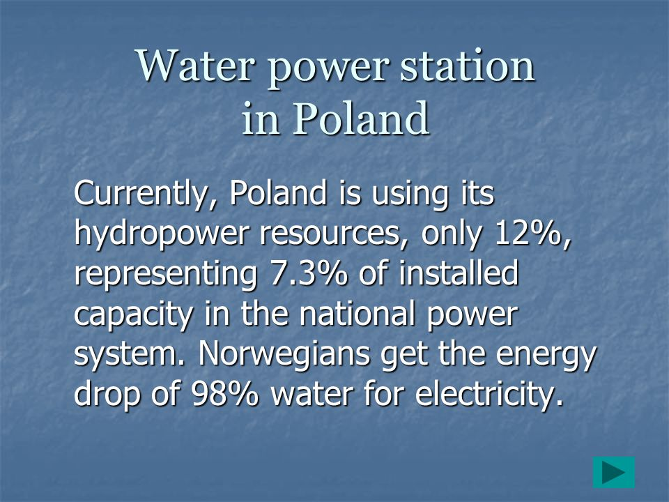 Water power station in Poland