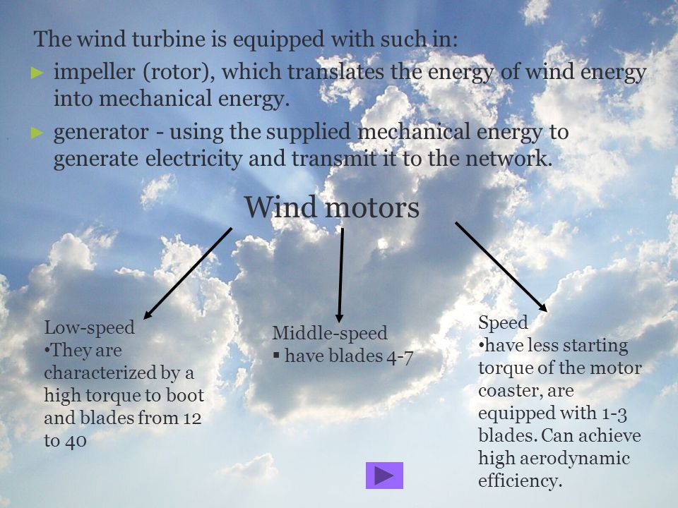Wind motors The wind turbine is equipped with such in: