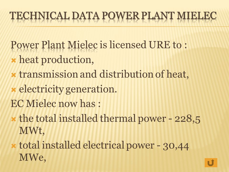 Technical Data POWER PLANT mielec
