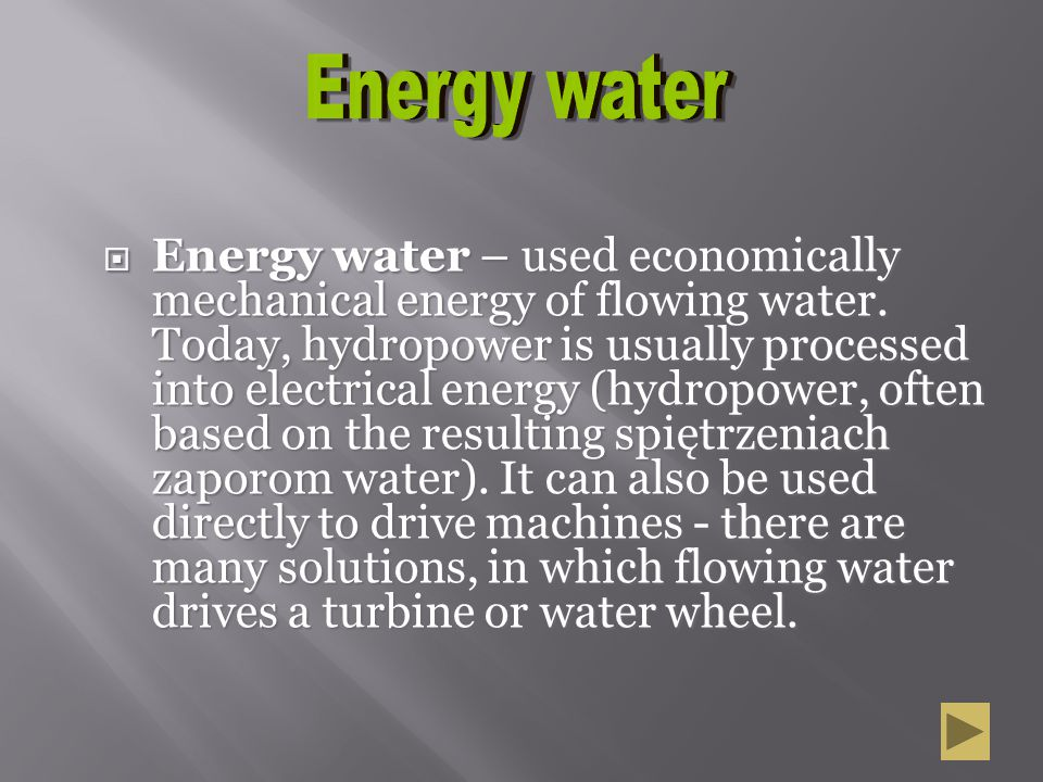 Energy water