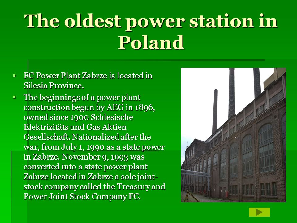 The oldest power station in Poland