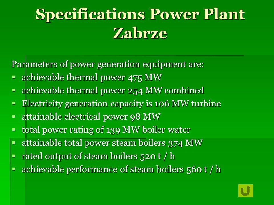 Specifications Power Plant Zabrze