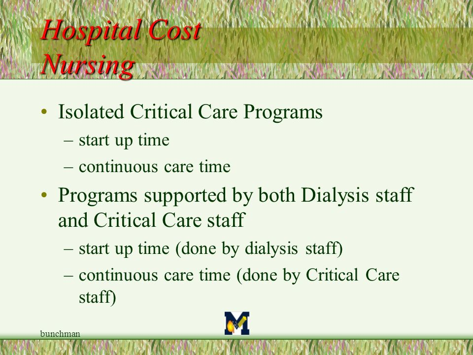Hospital Cost Nursing Isolated Critical Care Programs