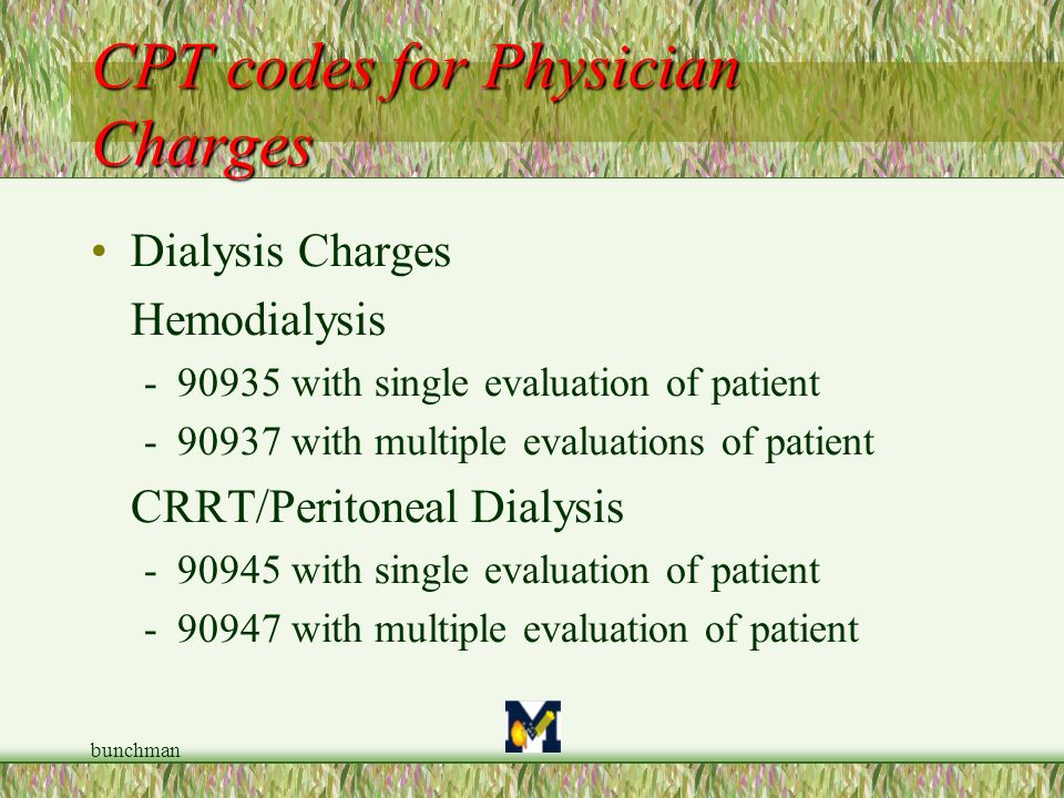 CPT codes for Physician Charges