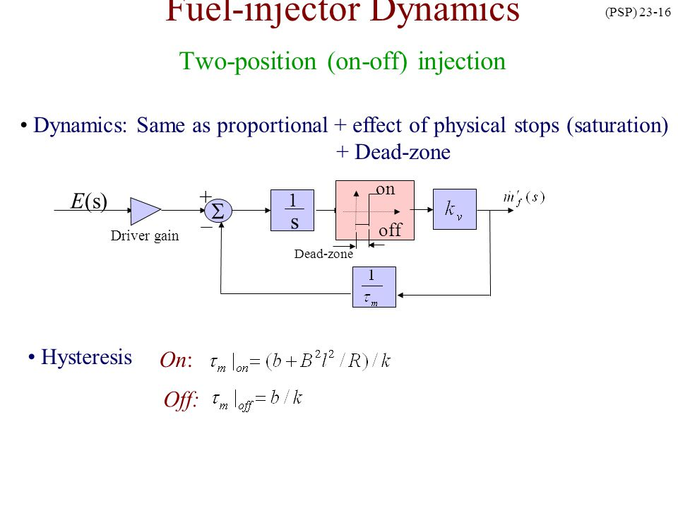 Fuel-injector Dynamics Two-position (on-off) injection