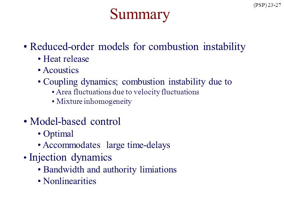 Summary Reduced-order models for combustion instability