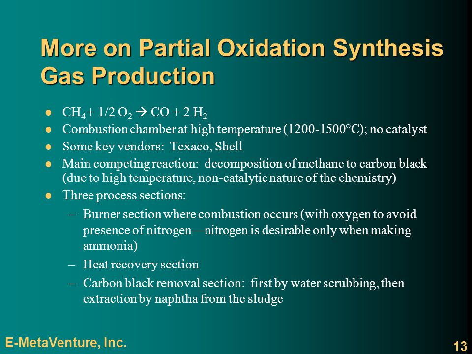 More on Partial Oxidation Synthesis Gas Production