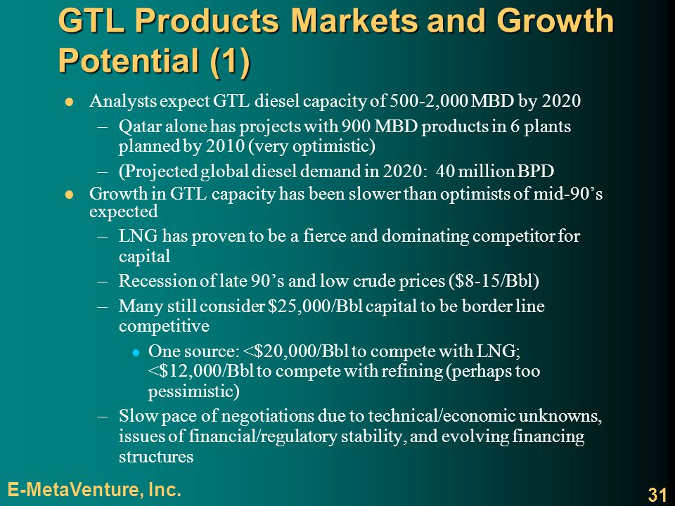 GTL Products Markets and Growth Potential (1)