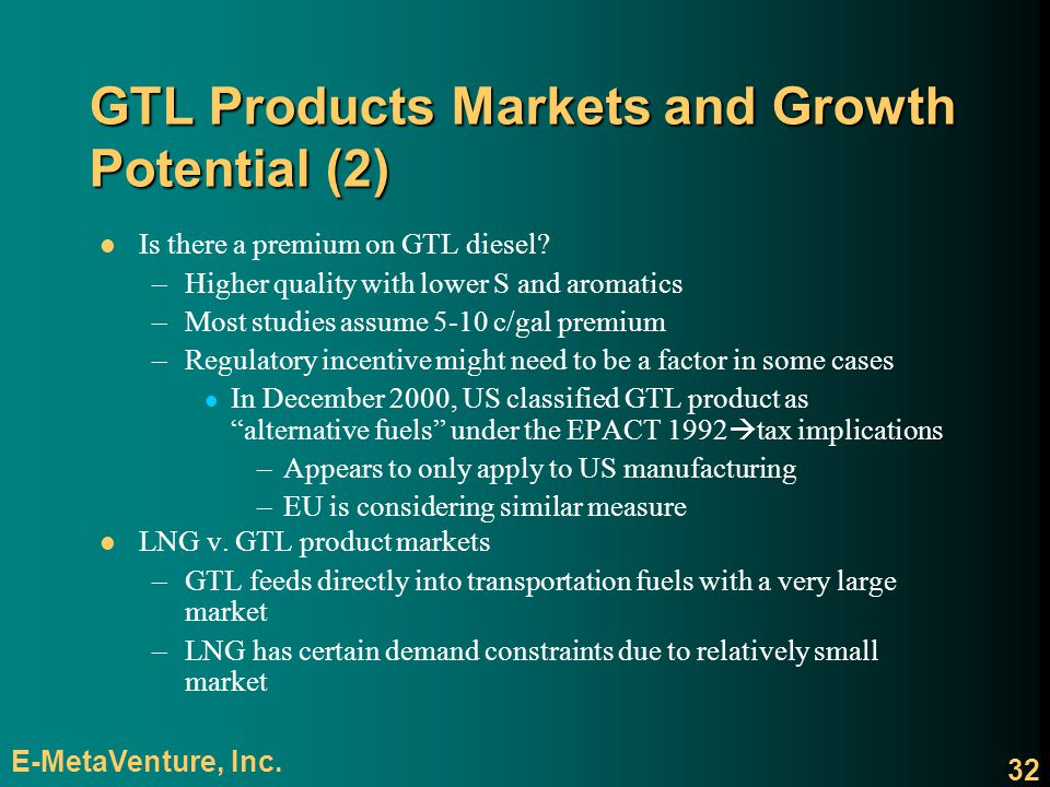 GTL Products Markets and Growth Potential (2)