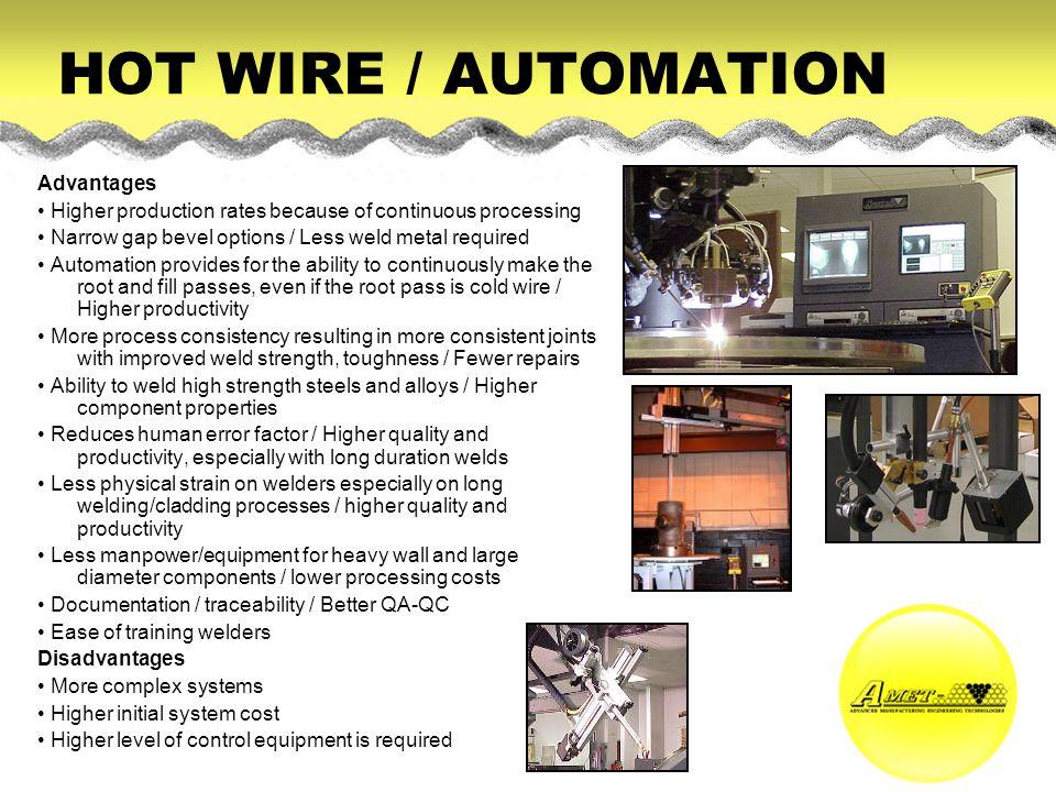 HOT WIRE / AUTOMATION Advantages