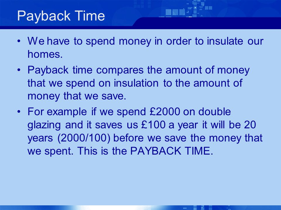 Payback Time We have to spend money in order to insulate our homes.