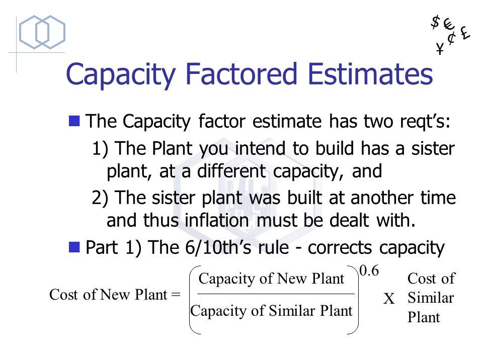 Capacity Factored Estimates