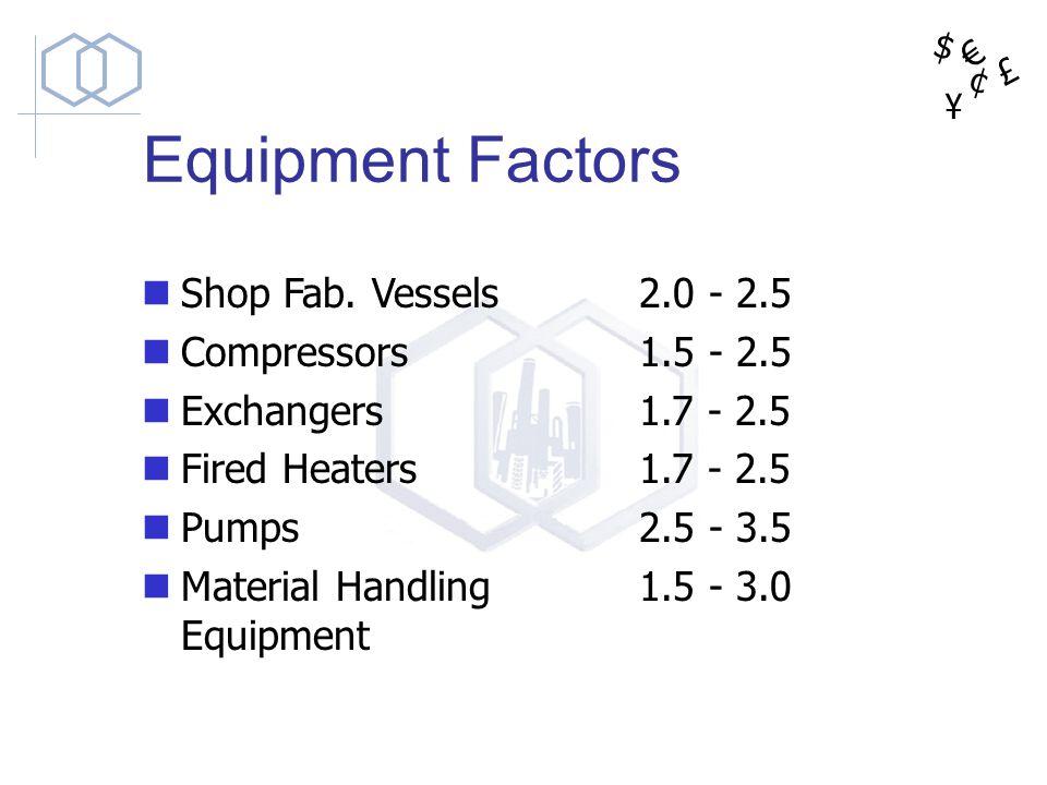 Equipment Factors Shop Fab. Vessels Compressors Exchangers
