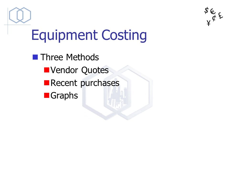 Equipment Costing Three Methods Vendor Quotes Recent purchases Graphs