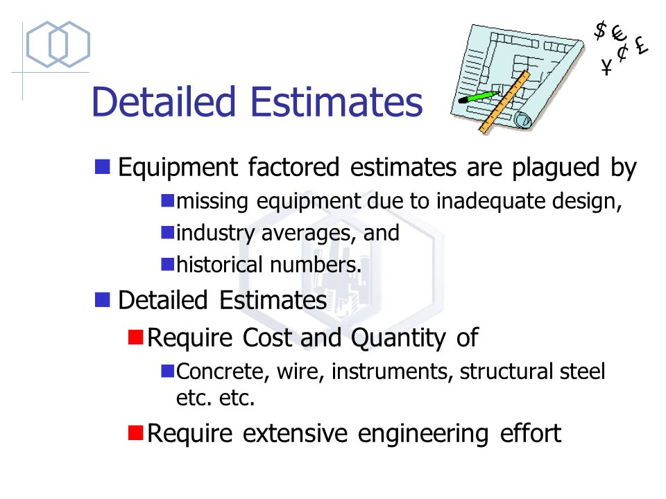Detailed Estimates Equipment factored estimates are plagued by